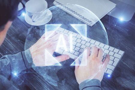 Double exposure of tech drawings with hands working on computer background. Concept of innovation.