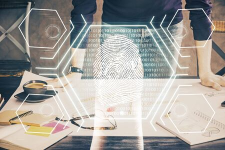 Fingerprint scan provides safe access with biometrics identification, concept of the future of security and password control through advanced technology. Double exposure. Imagens