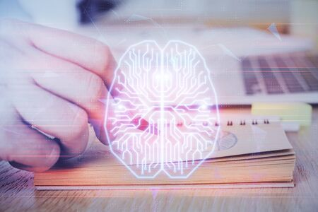 Haman brain multi exposure icon with man hands background. Concept of Ai.