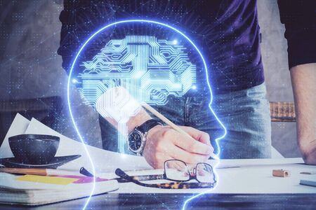 Haman brain double exposure icon with man hands background. Concept of Ai. Imagens