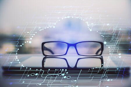 Data tech hologram with glasses on the table background. Concept of technology. Double exposure. 写真素材