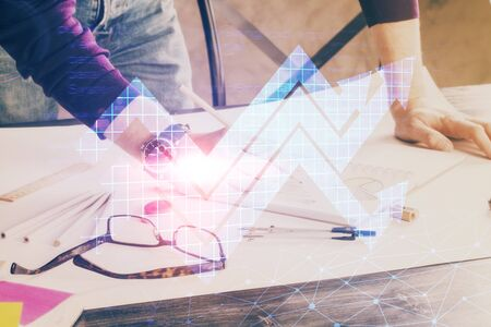 Businessman with creative business upward arrows on people hands background. Financial growth concept. Double exposure