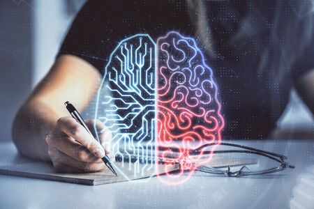 Multi exposure of womans writing hand on background with brain hologram. Concept of brainstorming. Stockfoto