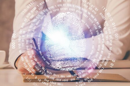 Fingerprint scan provides safe access with biometrics identification, concept of the future of security and password control through advanced technology. Double exposure. Stockfoto