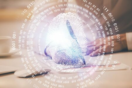 Fingerprint scan provides safe access with biometrics identification, concept of the future of security and password control through advanced technology. Double exposure. Stock Photo
