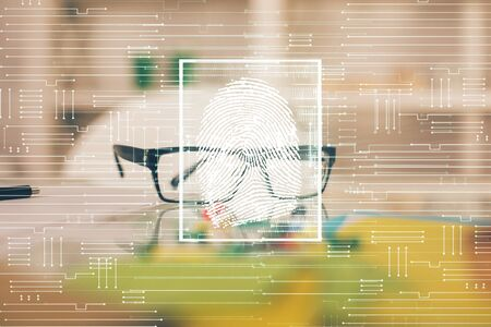 Fingerprint drawing with glasses on the table background. Concept of security. Double exposure.