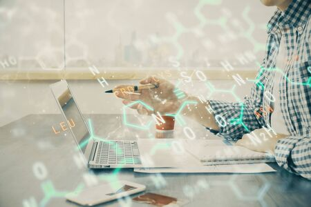 Science formula hologram with man working on computer on background. Education concept. Double exposure.