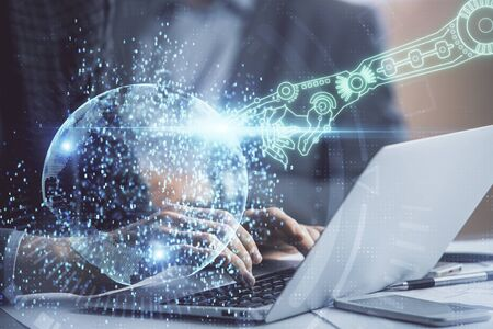 Businessman with computer background with technology theme hologram. Concept of big data. Double exposure.