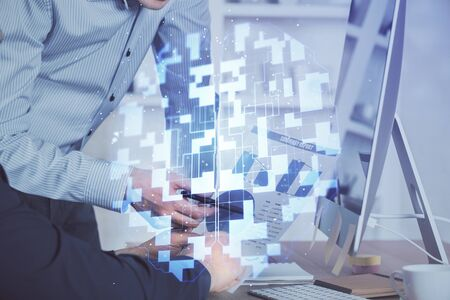 Multi exposure of tech drawings with man working on computer background. Concept of innovation.