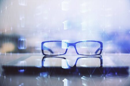 Data tech hologram with glasses on the table background. Concept of technology. Double exposure. Stock fotó
