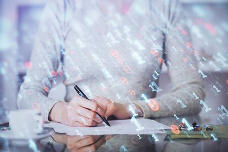 Double exposure of writing hand on background with data solution technology hologram. Ai concept.