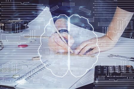 Haman brain double exposure icon with man hands background. Concept of Ai. Stock fotó