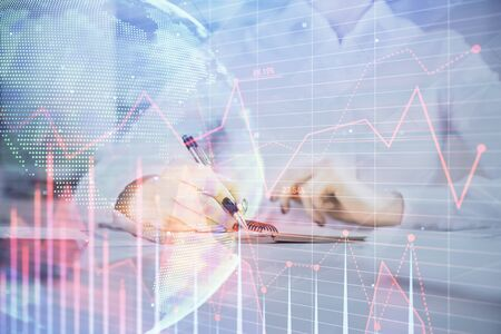 Financial chart drawn over hands taking notes background. Concept of research. Multi exposure Stock fotó
