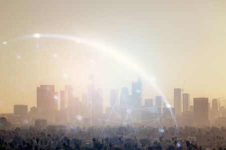 Double exposure of social network theme drawing and cityscape background. Concept of people connecton. Standard-Bild
