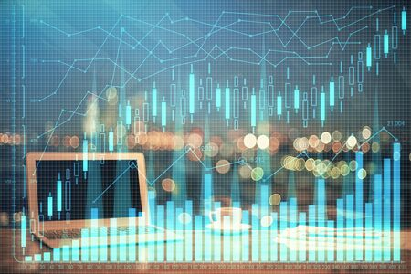 Double exposure of forex graph and work space with computer. Concept of international online trading. Stockfoto