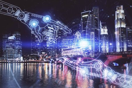 Data theme hologram drawing on city view with skyscrapers background multi exposure. Ai concept.