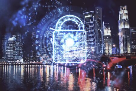 Lock icon hologram on city view with skyscrapers background multi exposure. Data security concept.