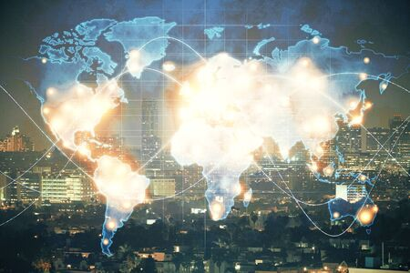 Double exposure of business theme hologram drawing and city veiw background. Concept of success. 版權商用圖片
