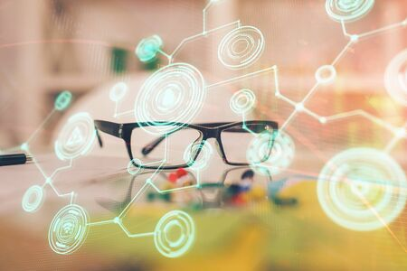 Social network theme drawing with glasses on the table background. Concept of people media connection. Double exposure.