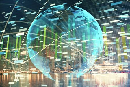 Double exposure of business theme hologram drawing and city veiw background. Concept of success. Stock Photo