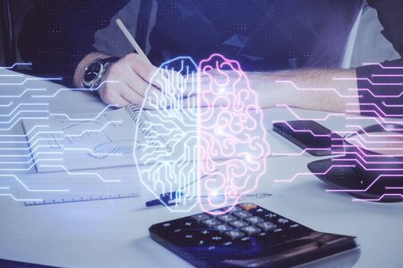 Haman brain multi exposure icon with man hands background.