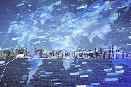 Data theme hologram drawing on city view with skyscrapers background double exposure. Technology concept. 写真素材