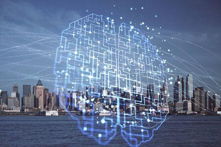 Gehirn-Hologramm, das auf Stadtbildhintergrund-Mehrfachbelichtung zeichnet Ai im modernen Stadtkonzept.