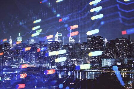 Data theme hologram drawing on city view with skyscrapers background double exposure. Ai concept.
