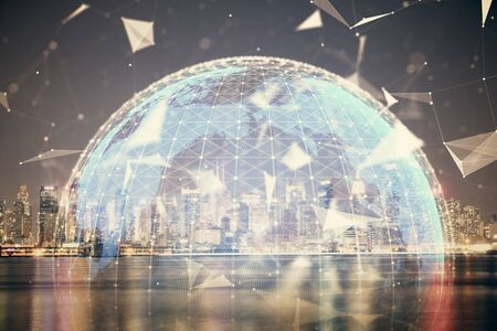 Double exposure of business theme hologram drawing and city veiw background. Concept of success. 写真素材