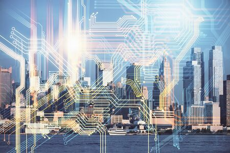 Map and data theme hologram on city view with skyscrapers background double exposure. International technology in business concept. Imagens