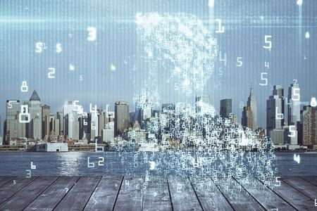 Data theme hologram drawing on city view with skyscrapers background double exposure. Technology concept. Imagens
