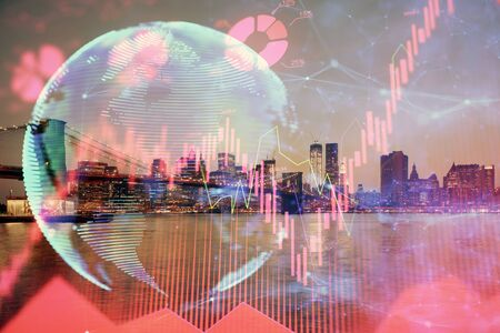 Double exposure of business theme hologram drawing and city veiw background. Concept of success. Imagens