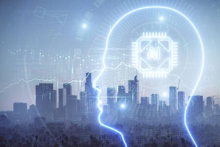 Brain hologram drawing on cityscape background multi exposure. Ai in modern city concept.