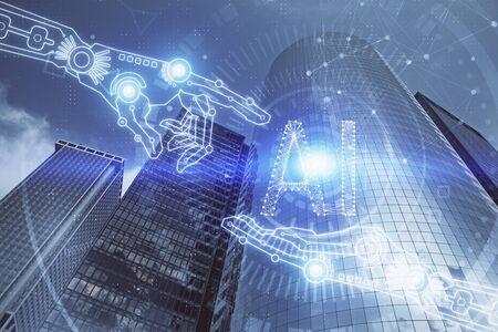 Datenthema-Hologramm, das auf Stadtansicht mit Wolkenkratzerhintergrund-Mehrfachbelichtung zeichnet. Big-Data-Konzept.