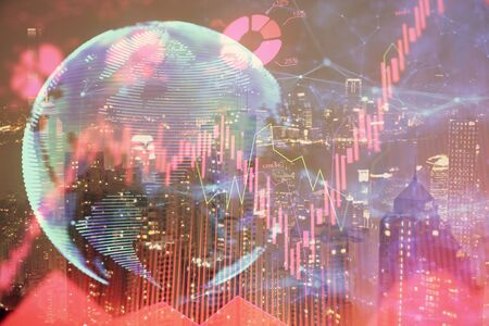 Double exposure of business theme hologram drawing and city veiw background. Concept of success. 스톡 콘텐츠