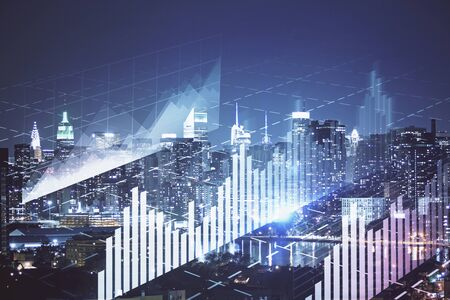 Double exposure of forex chart drawings over cityscape background. Concept of success. Stock fotó
