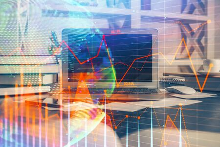 Double exposure of forex chart and work space with computer. Concept of international online trading. Zdjęcie Seryjne