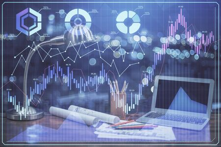 Forex market chart hologram and personal computer background. Multi exposure. Concept of investment.