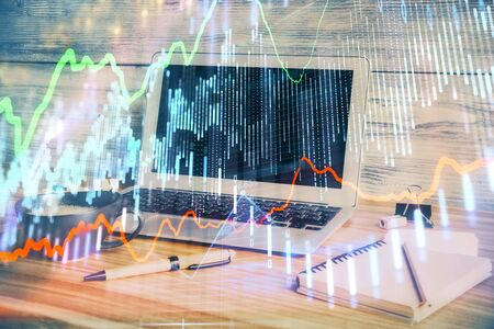 Multi exposure of forex graph and work space with computer. Concept of international online trading. Stok Fotoğraf