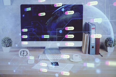 Double exposure of table with computer on background and data theme hologram. Data technology concept. Фото со стока
