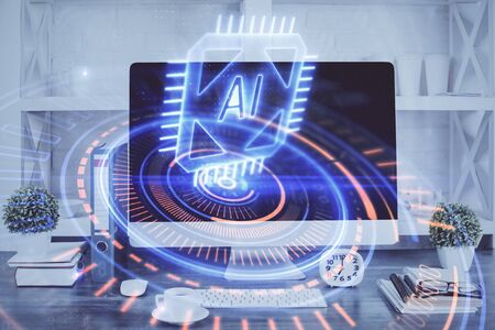 Double exposure of table with computer on background and data theme hologram. Data technology concept. Stok Fotoğraf