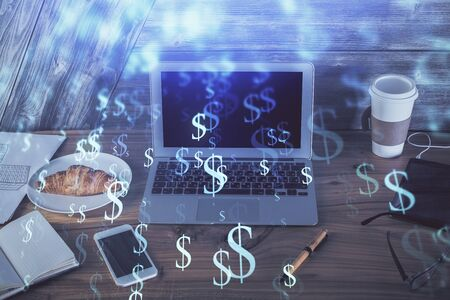 Multi exposure of forex chart and work space with computer. Concept of international online trading. Фото со стока - 129245421