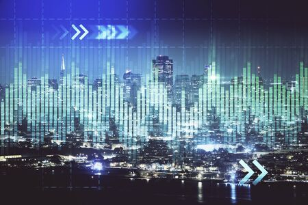 Financial graph on night cityscape with tall buildings  double exposure.