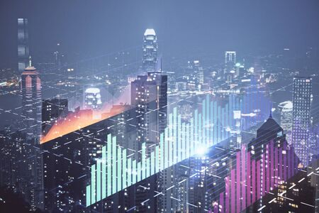 Double exposure of forex chart drawings over cityscape