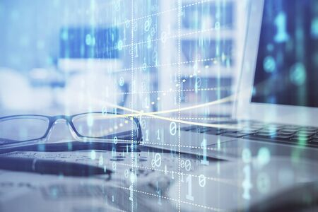Data tech hologram with glasses on the table