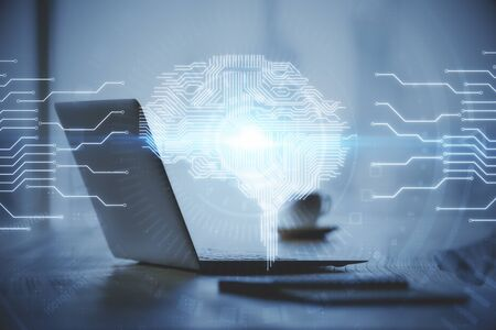 Double exposure of desktop with computer and brain drawing hologram. Stock Photo