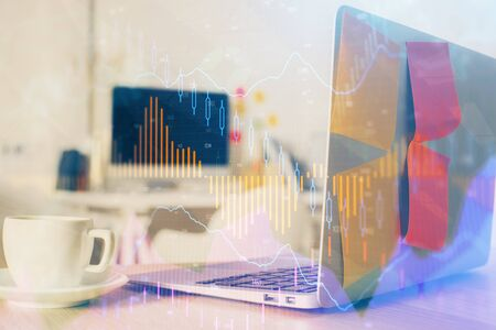 Forex market chart hologram and personal computer