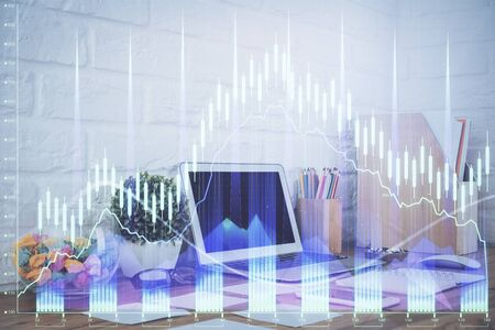 Forex market graph hologram and personal computer