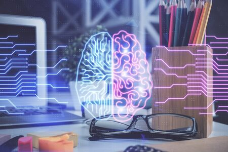 Brain drawings with glasses on the table background. Double exposure.