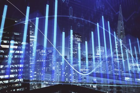 Financial graph on night city scape with tall buildings background multi exposure. Analysis concept. Stok Fotoğraf